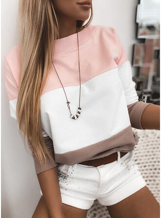 Color Block rund hals Lange ærmer Sweatshirts