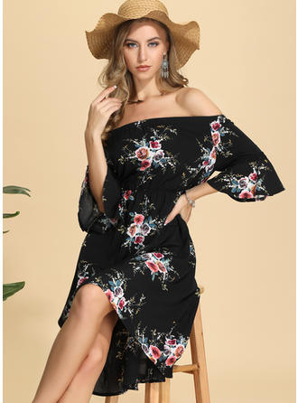 Print/Floral 3/4 Sleeves A-line Asymmetrical Casual/Vacation Dresses