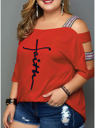 Print Cold Shoulder 3/4 Sleeves Casual Plus Size T-shirts