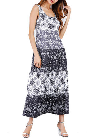 Print Strap Midi Shift Dress