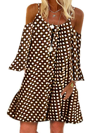 PolkaDot 3/4 Sleeves Shift Above Knee Casual Dresses