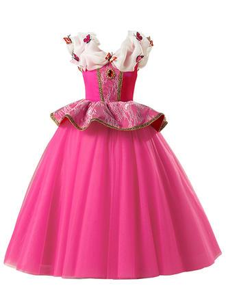 Girls V Neck Animal Lace Beading Cute Party Dress