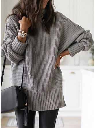 Solid/Chunky knit/Ribbed Long Sleeves Casual/Long Dresses