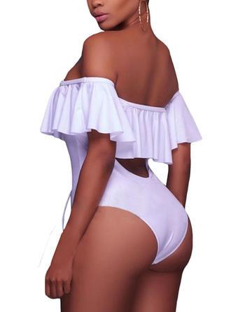 Elegant Solid Color One-Shoulder One-piece Swimsuit