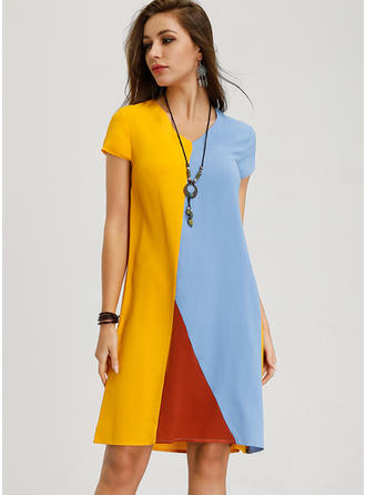Color-block Short Sleeves A-line Knee Length Casual Dresses