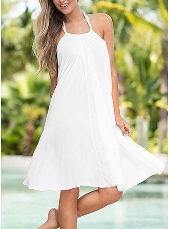 Solid Sleeveless Shift Knee Length Little Black/Sexy/Casual/Vacation Dresses