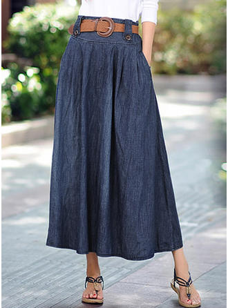 Cotton Plain Maxi A-Line Skirts Skirts