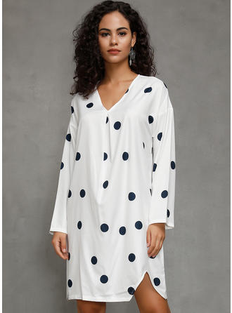 PolkaDot Long Sleeves Shift Above Knee Casual/Vacation Dresses