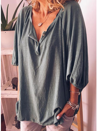 Solid V-Neck 3/4 Sleeves Button Up Casual Knit Blouses