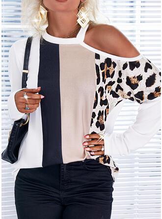 Estampado Colorido Leopardo Um Ombro Manga Comprida Casual Blusas