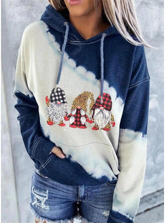 Print Color Block Grid Leopard Lommer Lange ærmer Jule sweatshirt