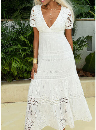 Lace/Solid Short Sleeves A-line Skater Little Black/Elegant Maxi Dresses