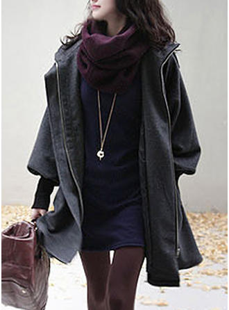 Woolen Long Sleeves Plain Blend Coats