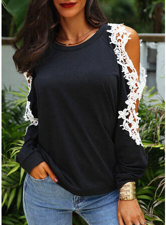 Solid Lace Cold Shoulder Long Sleeves Casual Elegant Blouses (1003294101)