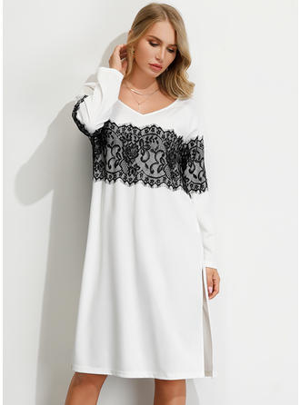 Lace Long Sleeves Shift Knee Length Casual Dresses