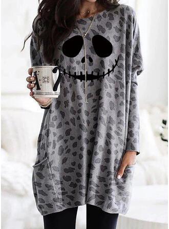 Print Leopard Halloween Lommer rund hals Lange ærmer Sweatshirts (1001329299)