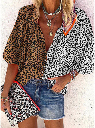 Animal Print V-Neck 3/4 Sleeves Button Up Casual Blouses