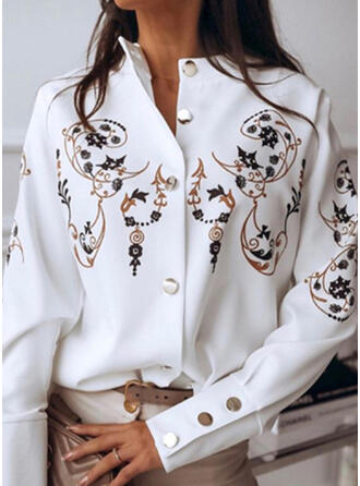 Print Round Neck Long Sleeves Casual Blouses