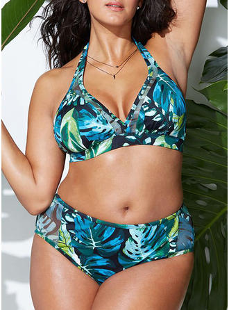 Feuilles Dos Nu Col V Sexy Grande taille Bikinis Maillots De Bain