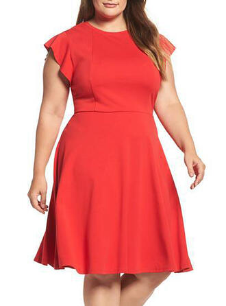 Solid Sleeveless A-line Plus Size Midi Dresses