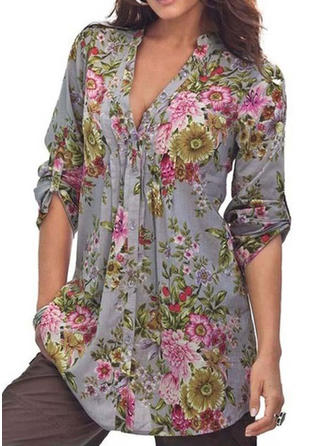 Stampa Scollatura a V Shirt and Blouses