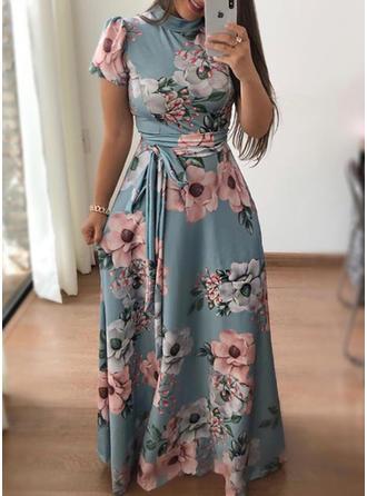 Estampado/Floral Manga Curta Evasê Maxi Vintage/Elegante Vestidos