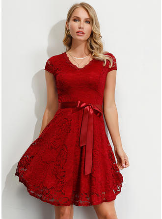 Lace/Solid Short Sleeves A-line Above Knee Party/Elegant Dresses