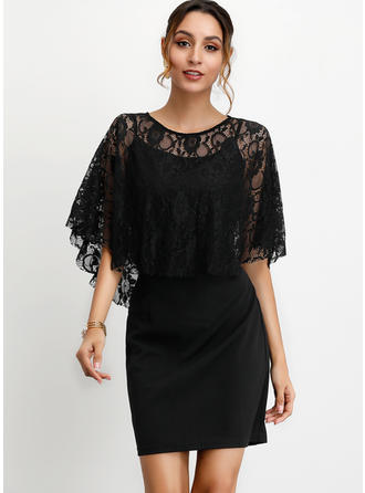Lace/Solid 1/2 Sleeves Sheath Above Knee Little Black/Party/Elegant Dresses