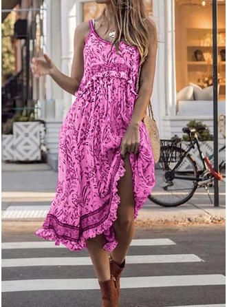 Print Sleeveless A-line Slip Casual/Vacation Midi Dresses