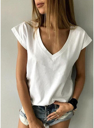 Solid V-Neck Cap Sleeve Casual T-shirts