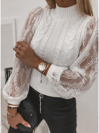 Solid Cable-knit Lace Turtleneck Casual Sweaters