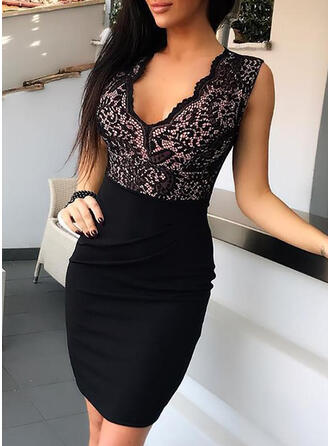 Lace/Solid Sleeveless Bodycon Above Knee Casual/Elegant Dresses