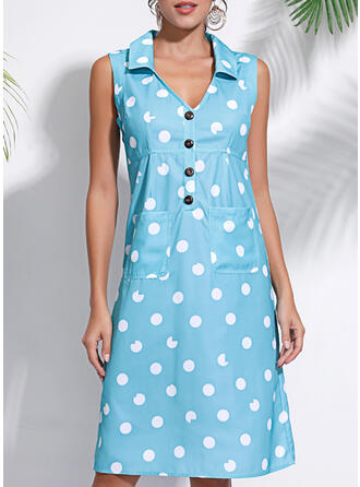 PolkaDot Sleeveless Shift Knee Length Casual/Vacation Tank Dresses