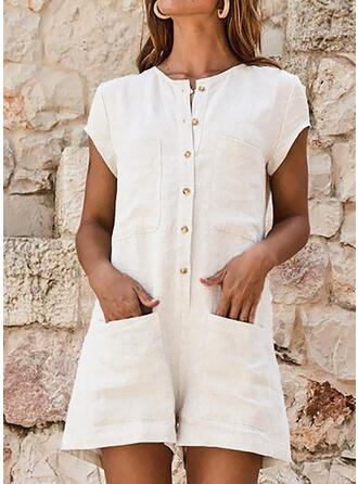 Solid Round Neck Short Sleeves Casual Vacation Romper