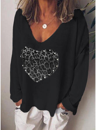 Print Leopard Heart V-Neck Long Sleeves Casual T-shirts