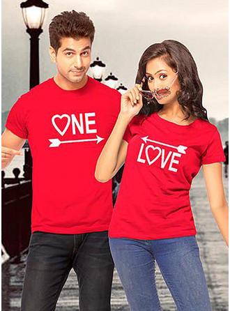 Lui et elle Letter Inmprimé Correspondant à Couple T-shirts