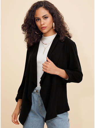 Polyester Long Sleeves Plain Jackets Cardigans