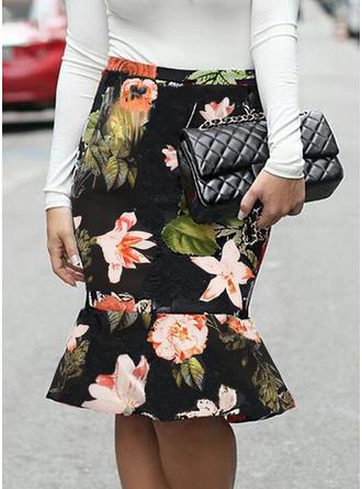 Polyester Inmprimé Floral longueur au genou Jupes moulantes