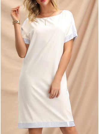 Solid Lyhyet hihat Väljä mekko Polven pituus Rento Mekot