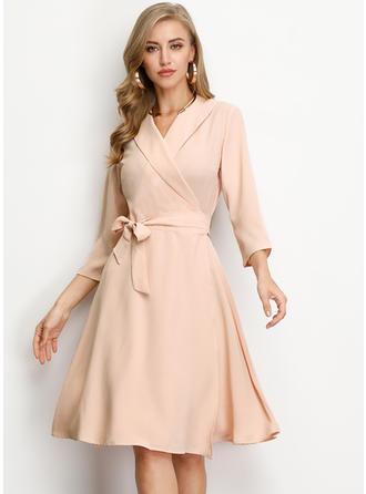 Solid 3/4 Sleeves A-line Knee Length Vintage/Elegant Dresses