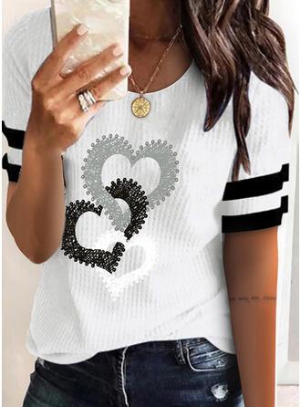 Hart Print Streep Ronde Hals Korte Mouwen T-shirts