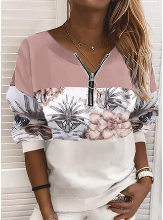 Print Color Block Blomster V-hals Lange ærmer Sweatshirts