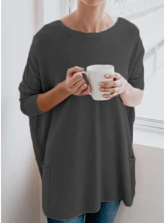 Solid Round Neck 3/4 Sleeves Casual Knit Blouses