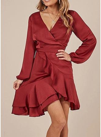 Solid V-neck Asymmetrical A-line Dress