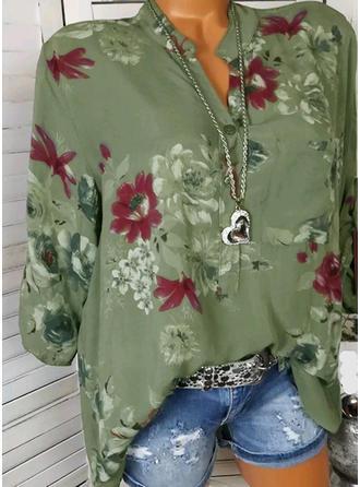Cotton Lapel Floral Long Sleeves Shirt Blouses
