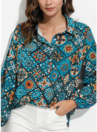 Print Blomster V-hals Lange ærmer Button-up Casual Bluser