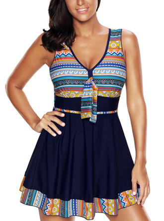 Colorful V-neck Beautiful Plus Size Swimdresses Swimsuits