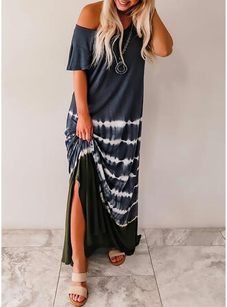 Print Short Sleeves Shift Casual Maxi Dresses