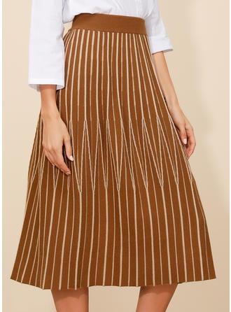Polyester Pruhované Do půl lýtek Skládané sukně Volné Sukně Sukně do tvaru A