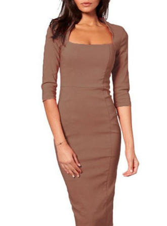 Solid Square Neck Knee Length Bodycon Dress